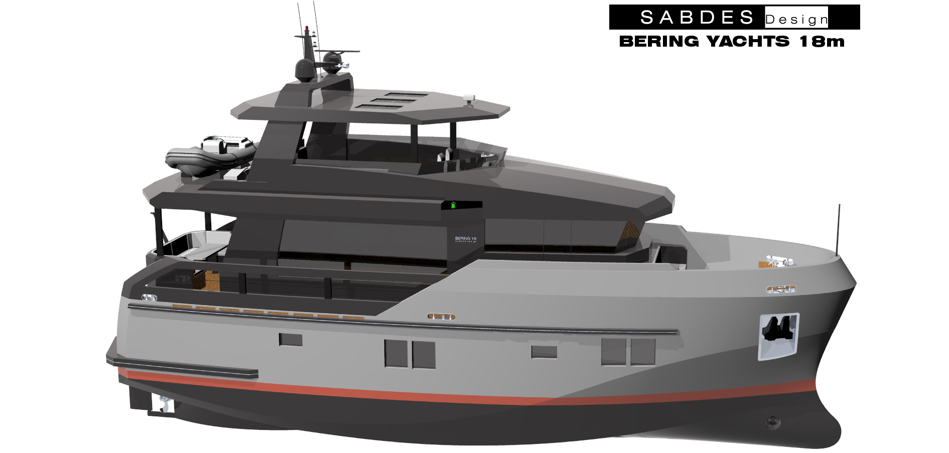 New 18m explorer motor yacht Bering 18 created by Sabdes