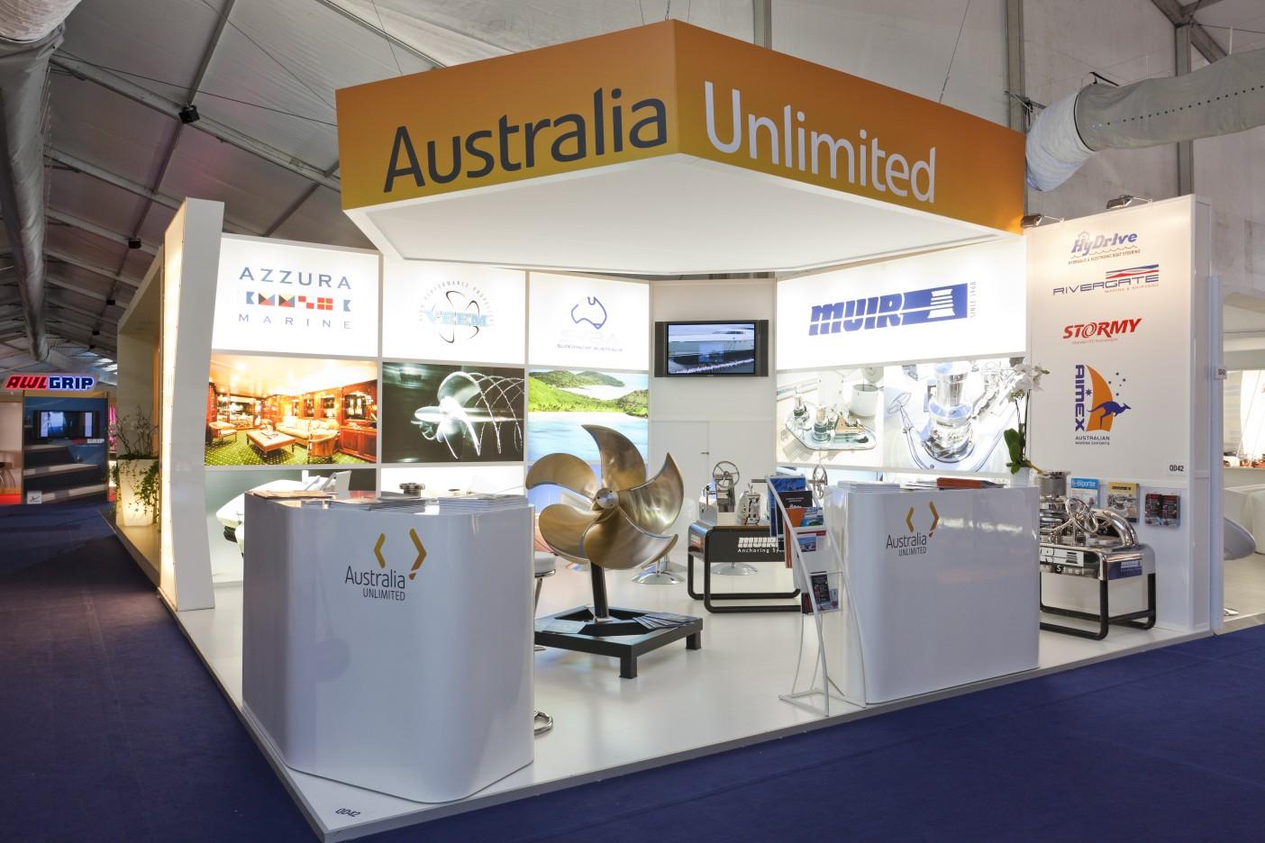 Australian Pavilion at Monaco Yacht Show 2011 using Australia Unlimited