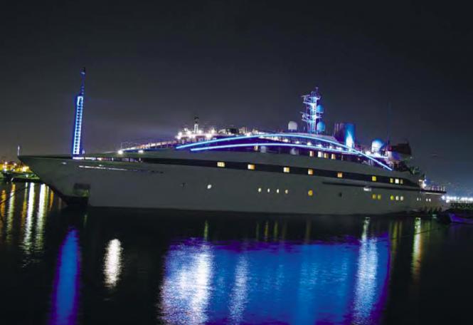 Charter yacht RM ELEGANT at night