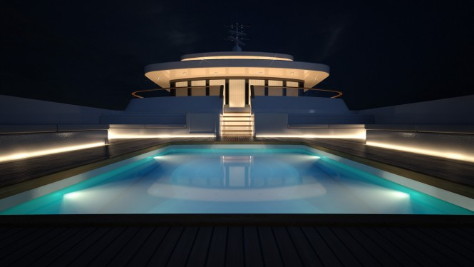 Superyacht PROJECT LIGHT Swimming Pool by night