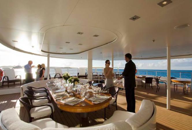 The aft saloon deck - Mega Yacht RM ELEGANT