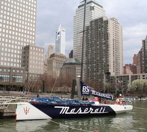 70ft sailing yacht Maserati leaves Dennis Conner´s North Cove to challenge Trans-Atlantic Record