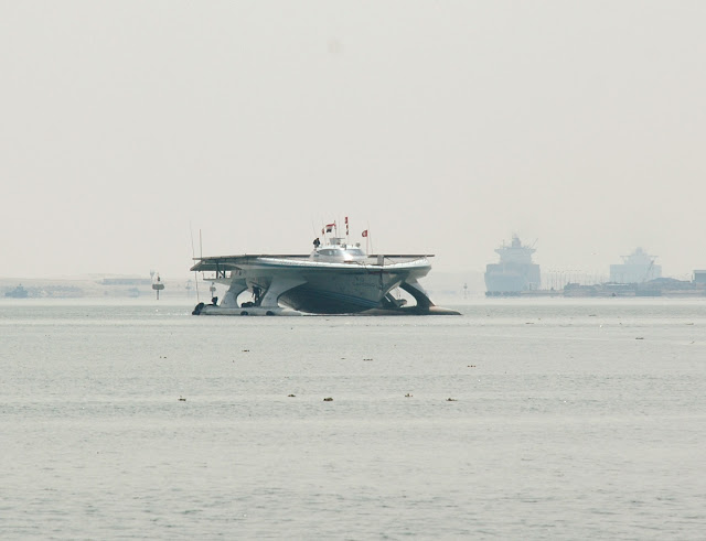 MS Turanor PlanetSolar yacht crossing Suez Canal