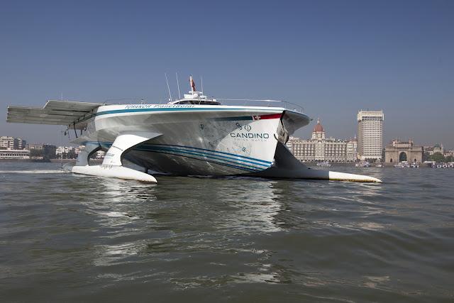 MS Turanor PlanetSolar yacht leaving Mumbai