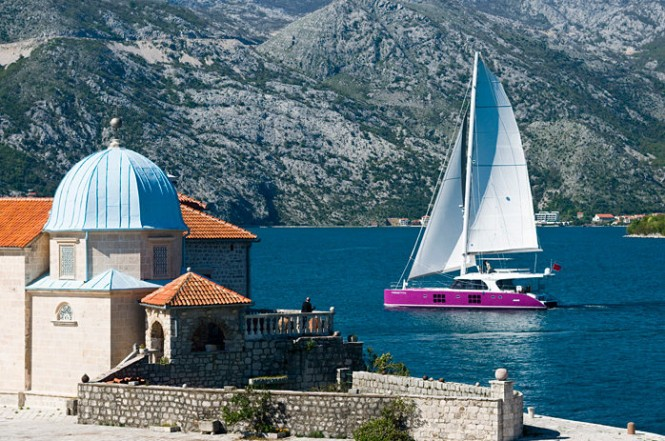 Sunreef 58 sailing yacht FREESTYLE in Bay of Kotor, Montenegro