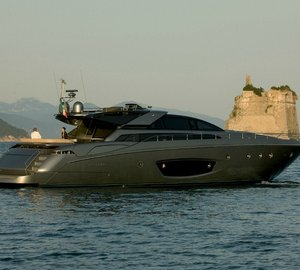 Exceptional RIVA 86' Domino motor yacht RHINO luxury charter in the Western Mediterranean