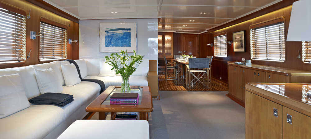 Superyacht Heavenly Daze - Main Saloon - after restyling by Pendennis with design by Wetzels Brown