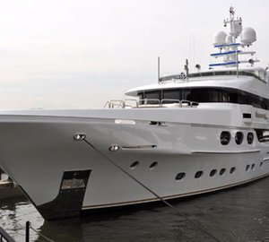 168ft Christensen charter yacht Remember When visits Dennis Conner's North Cove