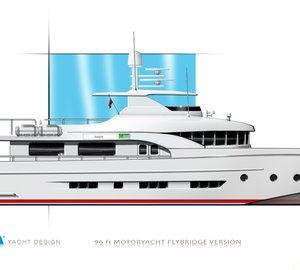 28m motor yacht DIANA Blu concept by Diana Yacht Design