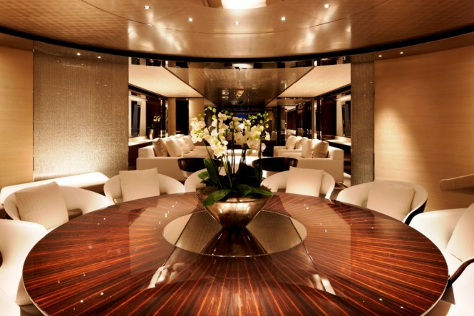 Interior of the YN 15250 Motor Yacht Satori by Heesen Dining Room - Photo credit Dick Holthuis