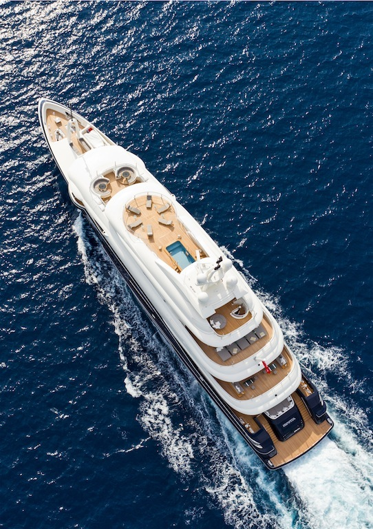 Rossinavi 70m NUMPTIA superyacht from above