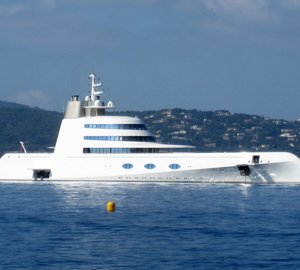 Photos of the 119m Blohm+Voss mega yacht 'A' on the French Riviera