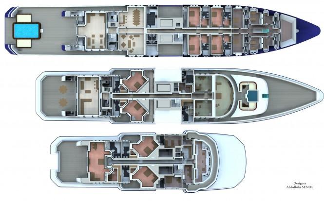 90m Senol Mega Yacht Concept - Deck Plan