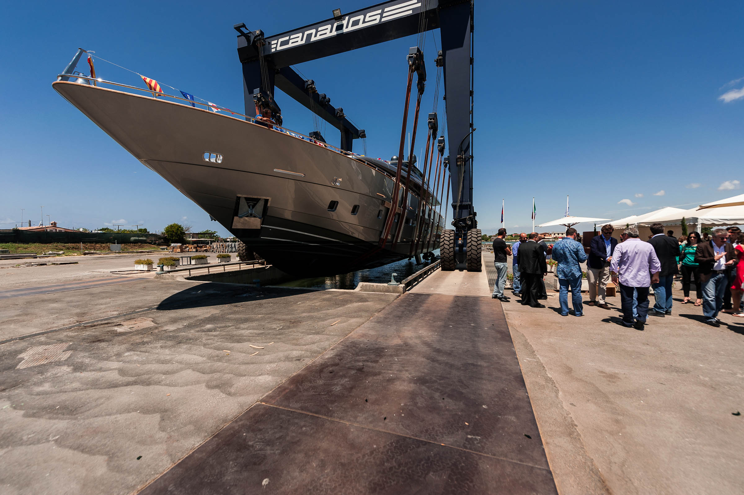 Canados 120 motor yacht Far Away at launch Photo Credit: A&B Photodesign