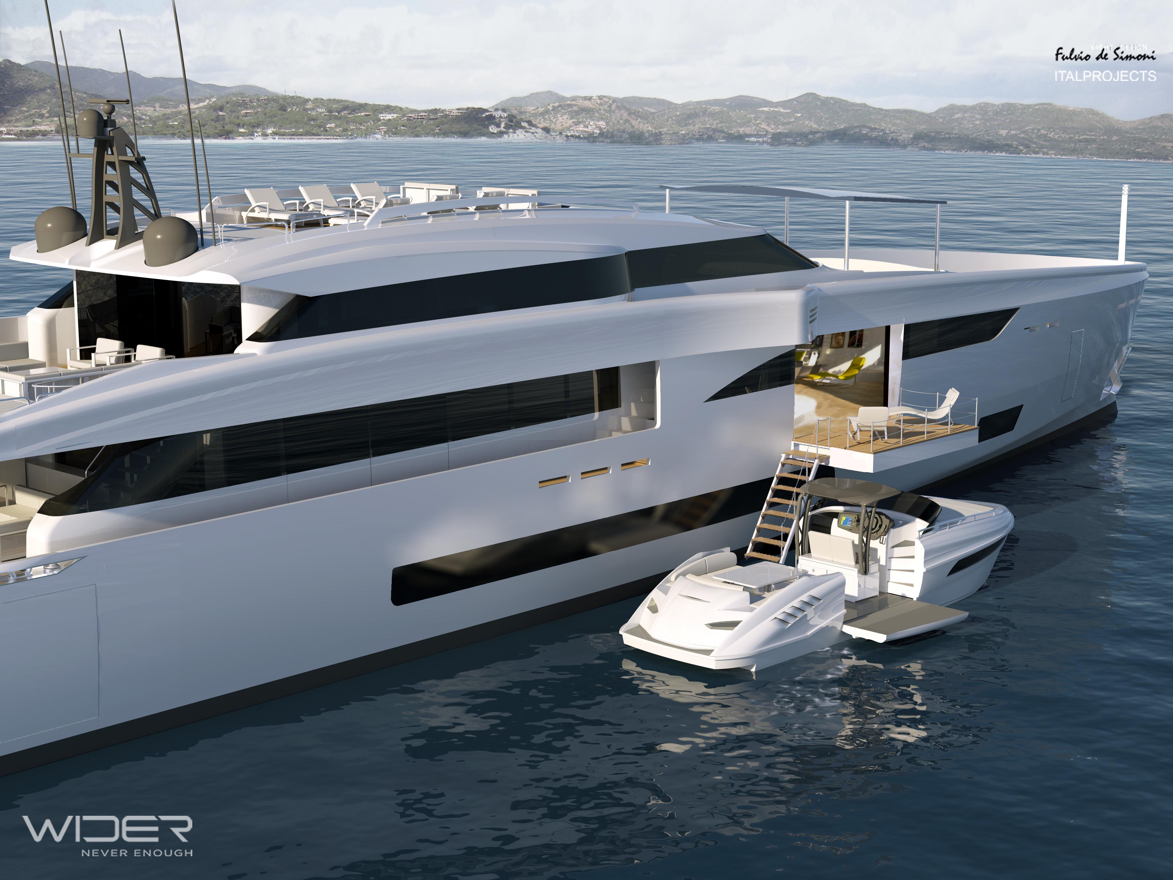 Wider 150 superyacht with a 33' Wider yacht tender