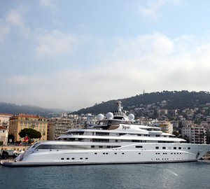 Newly delivered 147m Lurssen megayacht TOPAZ visits the Mediterranean