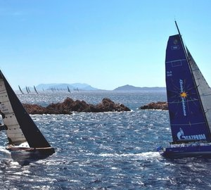Esimit Europa 2 superyacht racing in the 2012 Maxi Yacht Rolex Cup