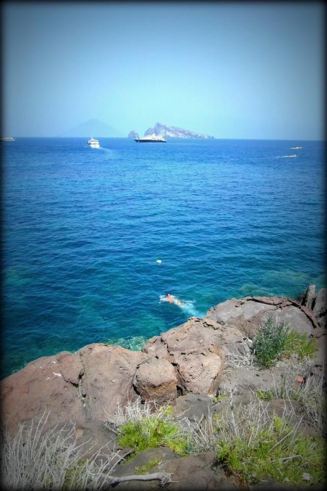 Luxury Yacht Lyana in distance near Panarea - Aeolian Islands - Italy