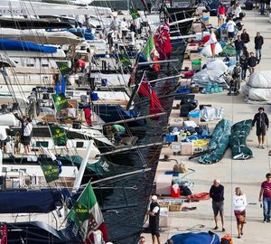 A fleet of 34 international Maxi yachts competing in this year's Maxi Yacht Rolex Cup