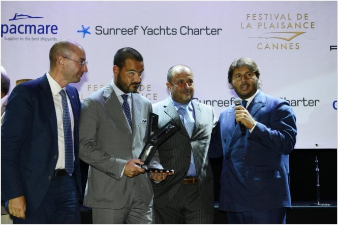 Prizegiving at the Festival de la Plaisance in Cannes for the CRN Navetta 43 yacht LADY TRUDY - winner of the Best Interior Award at the World Yacht Trophy 2012