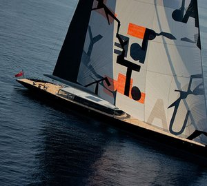 Vitters sailing yacht Aglaia with sail art by Magne Furuholmen