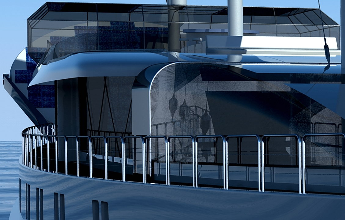 90m sailing yacht 'Sail Cruise Vessel' - superstructure detail
