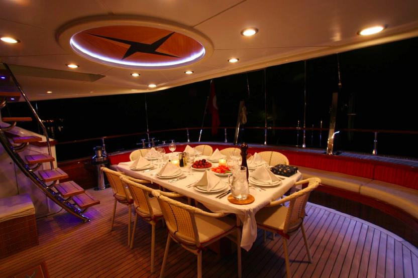 Al fresco dining aboard sailing yacht Serenity 86 - Turkish Gullet