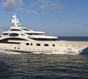 The impressive 87m Lurssen megayacht ACE designed by Andrew Winch on display at MYS