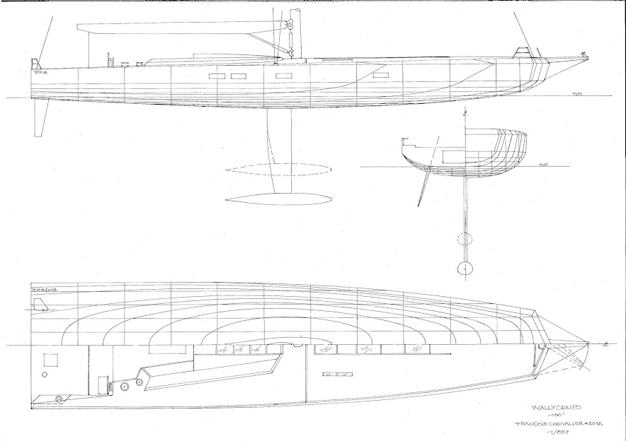 Figure 2- Sailing Yacht WallyCento, lines, sections, profile and half-deck