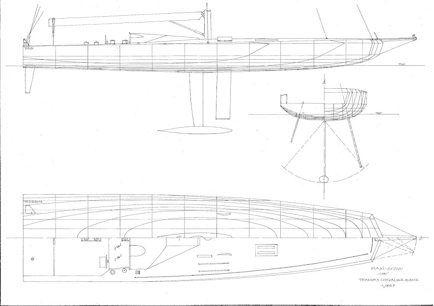 Figure 5- MaxiScow superyacht, lines, sections, profile and half-deck