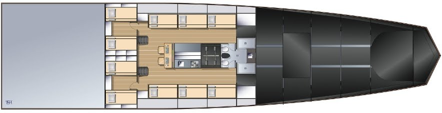 Figure 7- MaxiScow yacht, interior layout