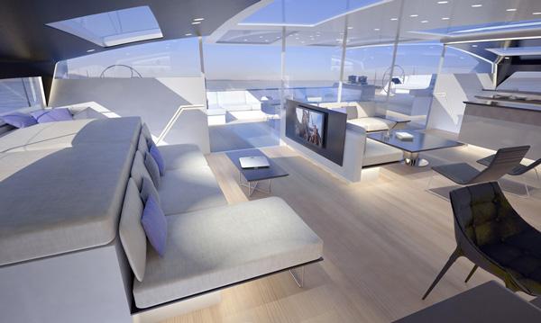 Luxurious interior aboard High Performance Yacht SIG80