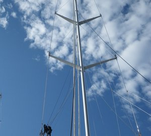 World's two tallest masts of sailing yacht Salute and superyacht M5 serviced by Marine Results