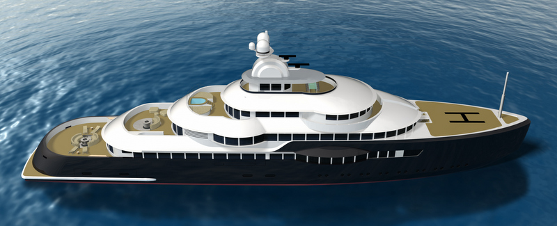 125-metre megayacht Narwhal concept - view from above