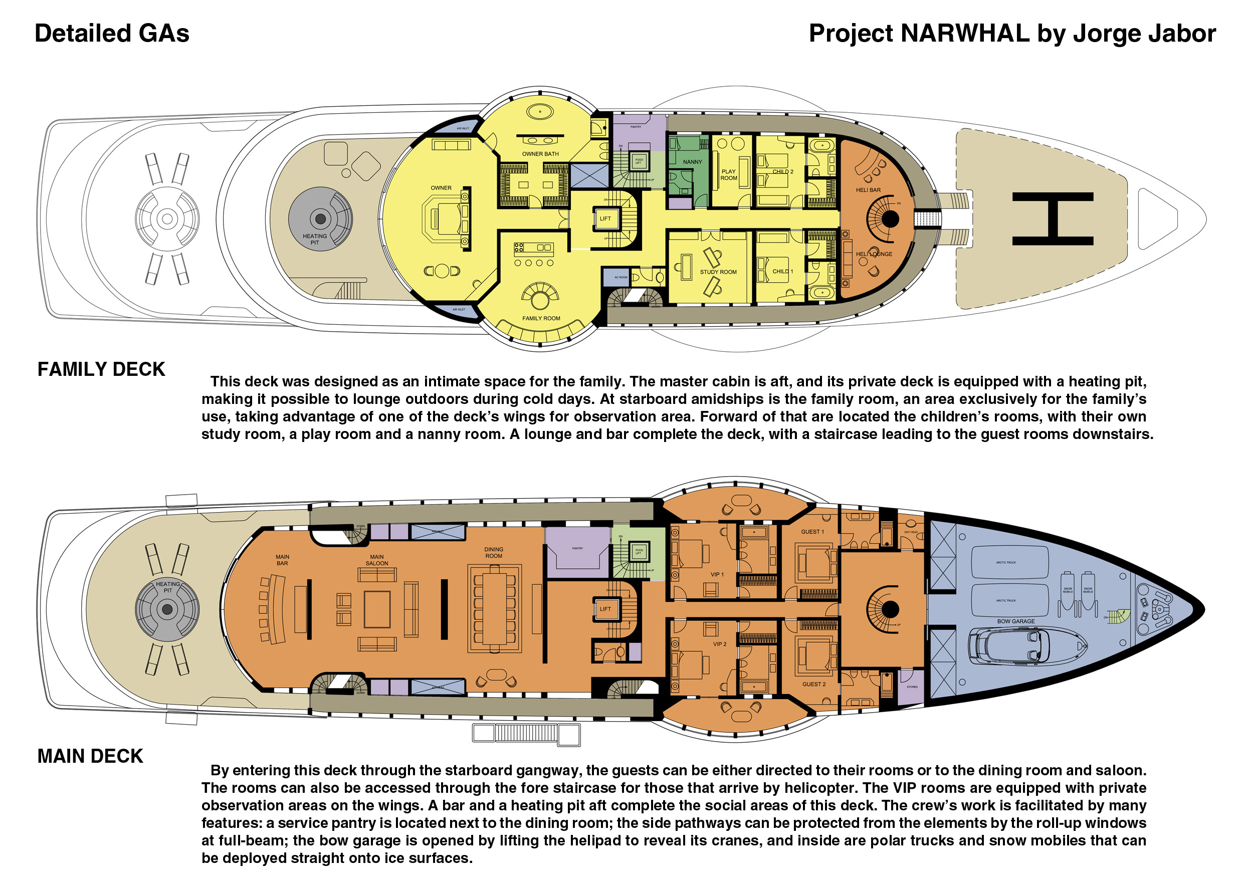 125m megayacht Narwhal concept - Family and Main Decks
