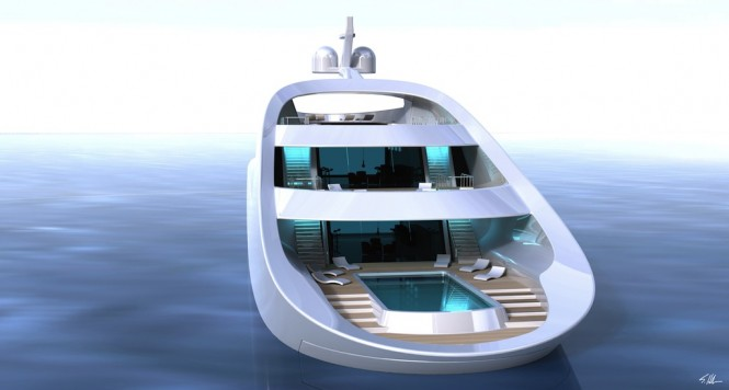 70 QUILLON yacht concept by Scott Henderson - relaxation, sunbathing area with the infinity pool aft