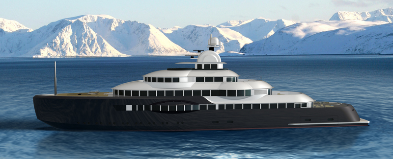 Luxury expedition yacht Narwhal concept - side view