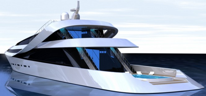 Luxury yacht MANTA - rear view