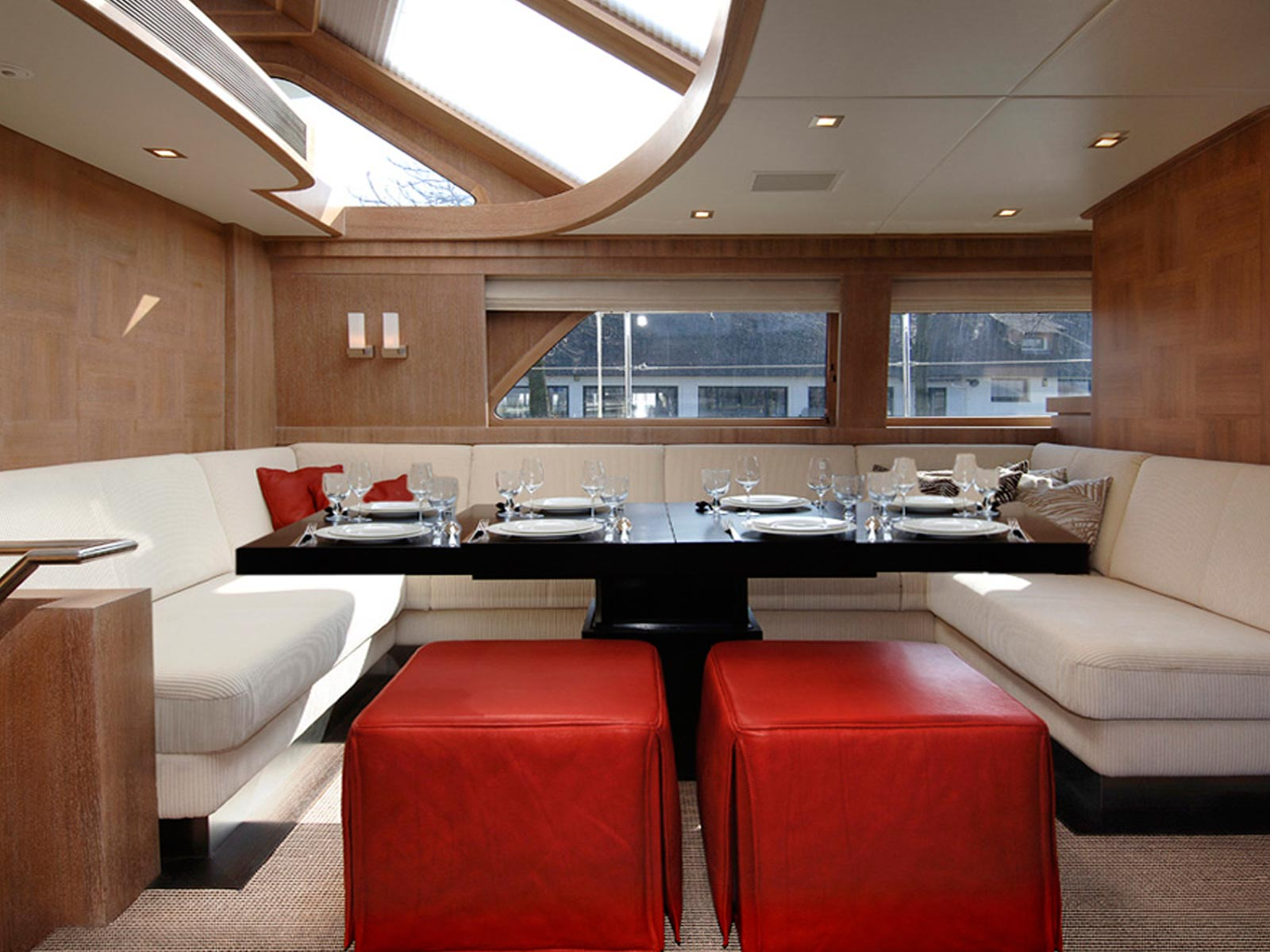 red living room paint mulder 73 wheelhouse yacht interior yacht charter 16688