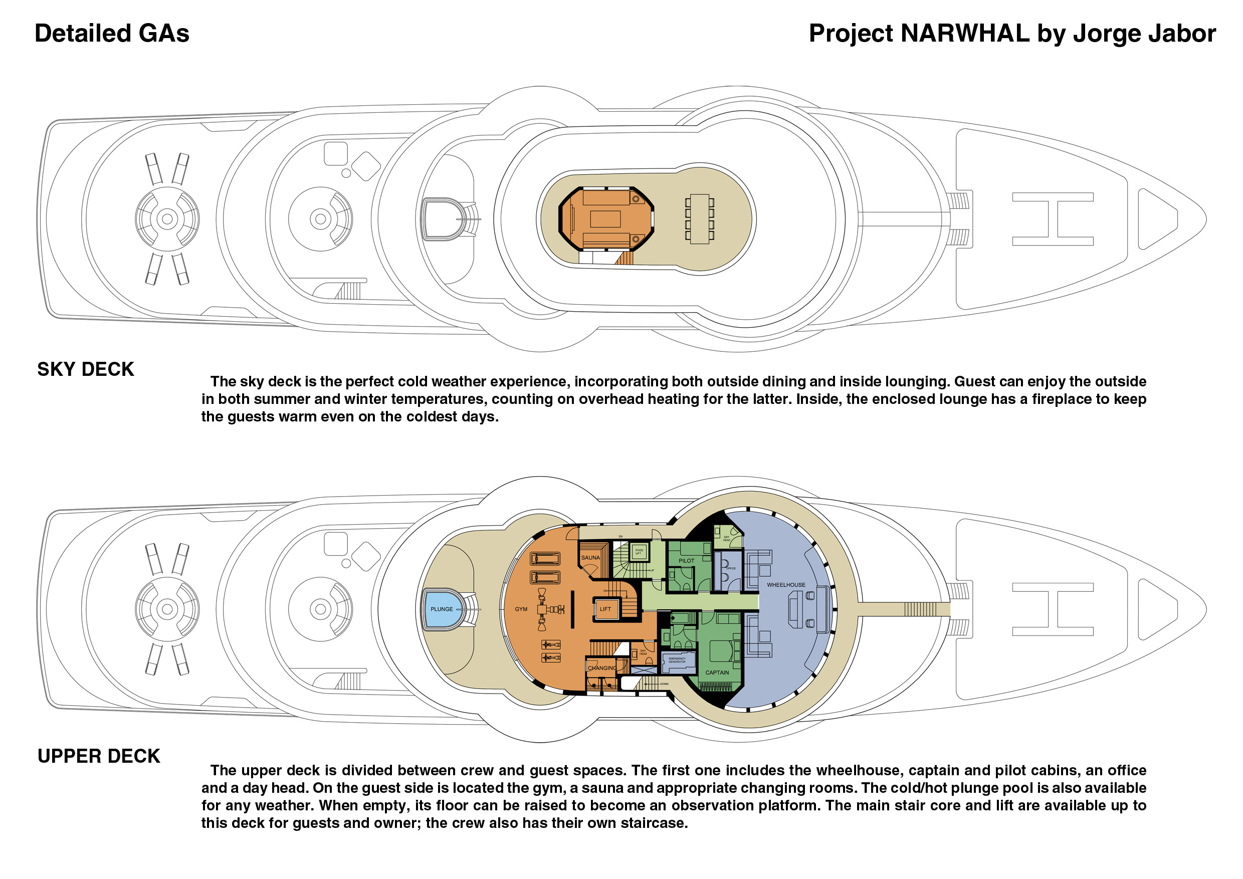 Narwhal yacht project - Sky and Upper Decks