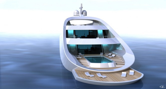 Quillon superyacht - Retractable beach area with the infinity pool aft