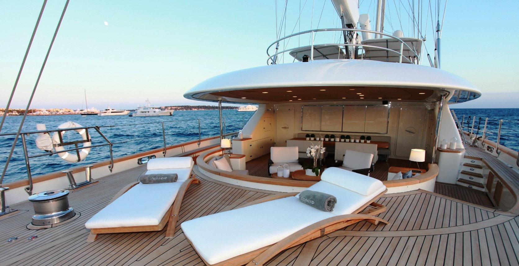 Sailing Yacht Silencio Aft Deck Sunbeds Yacht Charter