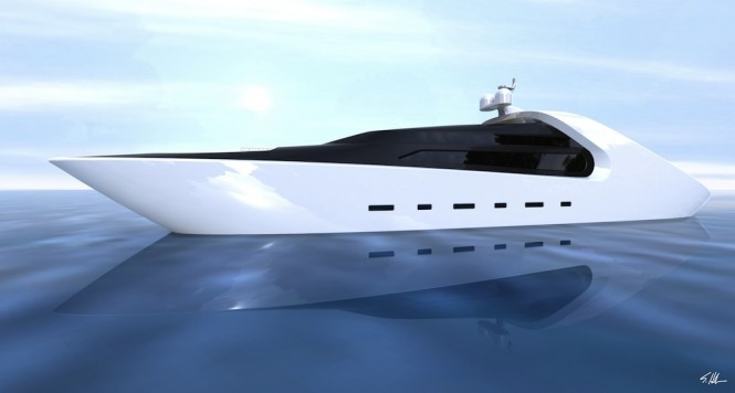 Sleek and futuristic profile of the 70m luxury yacht Quillon