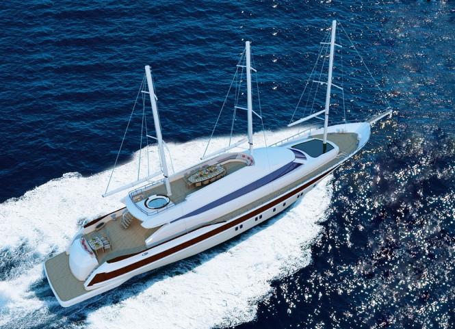40m sailing yacht MISS TOR SCHOONER 130 under construction at Orucoglu Shipyard
