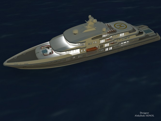 90m Senol Mega Yacht Design by night