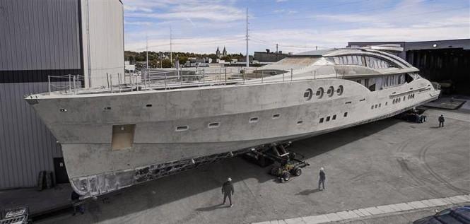 PJ210 superyacht Project Stimulus under construction at Palmer Johnson - Image courtesy of Nuvolari Lenard