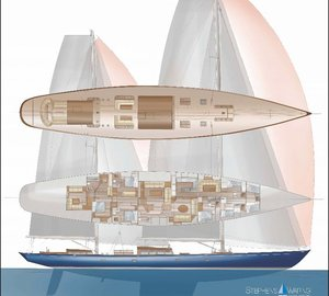 New 44m sailing yacht ANTHEM concept by Stephens Waring Yacht Design