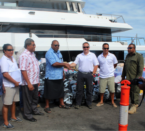 Relief supplies arrive in Fiji aboard luxury expedition yacht BIG FISH