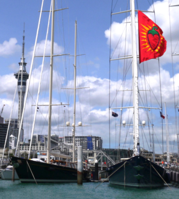 Ron Holland's shot of luxury yacht Christopher and Thalia superyacht at the Viaduct in Auckland