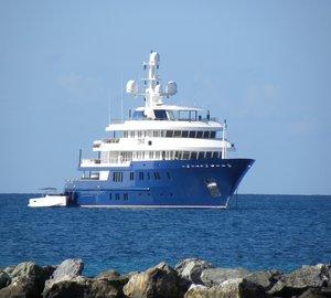Luxury superyachts spotted near the popular Caribbean yacht charter destination - NEVIS Island